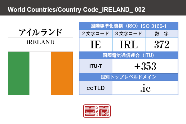 国名:アイルランド/IRELAND 国際標準化機構 ISO 3166-1 [ 2文字コード:IE , 3文字コード:IRL , 数字:372 ] 国際電気通信連合 ITU-T:+353 国別トップレベルドメイン ccTLD:.ie