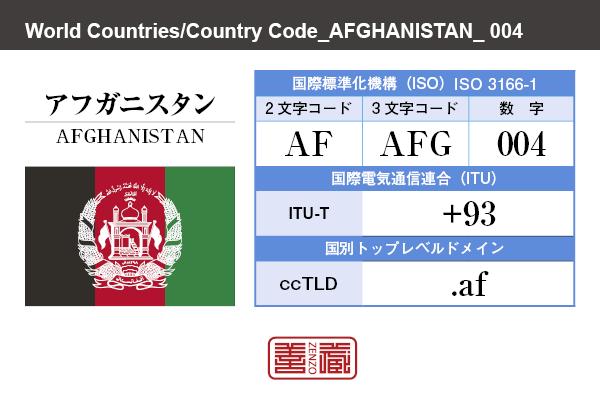 国名:アフガニスタン/AFGHANISTAN 国際標準化機構 ISO 3166-1 [ 2文字コード:AF , 3文字コード:AFG , 数字:004 ] 国際電気通信連合 ITU-T:+93 国別トップレベルドメイン ccTLD:.af
