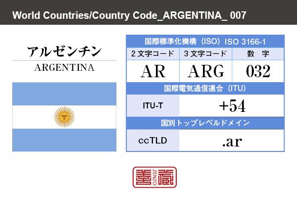 国名:アルゼンチン/ARGENTINA 国際標準化機構 ISO 3166-1 [ 2文字コード:AR , 3文字コード:ARG , 数字:032 ] 国際電気通信連合 ITU-T:+54 国別トップレベルドメイン ccTLD:.ar