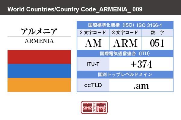 国名:アルメニア/ARMENIA 国際標準化機構 ISO 3166-1 [ 2文字コード:AM , 3文字コード:ARM , 数字:051 ] 国際電気通信連合 ITU-T:+374 国別トップレベルドメイン ccTLD:.am