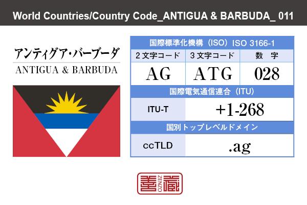 国名:アンティグア・バーブーダ/ANTIGUA & BARBUDA 国際標準化機構 ISO 3166-1 [ 2文字コード:AG , 3文字コード:ATG , 数字:028 ] 国際電気通信連合 ITU-T:+1-268 国別トップレベルドメイン ccTLD:.ag