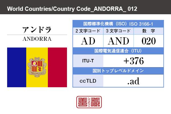 国名:アンドラ/ANDORRA 国際標準化機構 ISO 3166-1 [ 2文字コード:AD , 3文字コード:AND , 数字:020 ] 国際電気通信連合 ITU-T:+376 国別トップレベルドメイン ccTLD:.ad