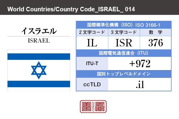 国名:イスラエル/ISRAEL 国際標準化機構 ISO 3166-1 [ 2文字コード:IL , 3文字コード:ISR , 数字:376 ] 国際電気通信連合 ITU-T:+972 国別トップレベルドメイン ccTLD:.il