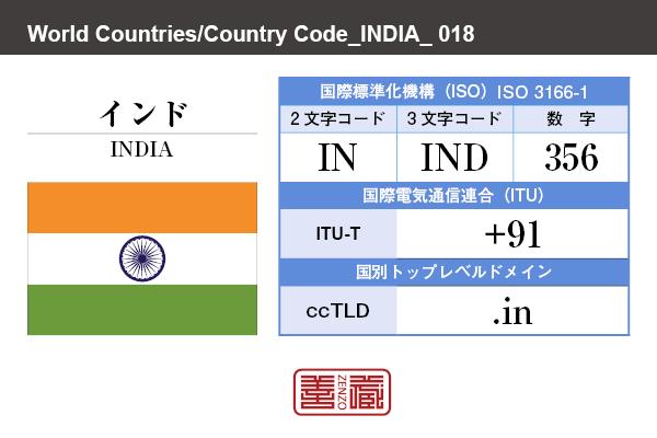 国名:インド/INDIA 国際標準化機構 ISO 3166-1 [ 2文字コード:IN , 3文字コード:IND , 数字:356 ] 国際電気通信連合 ITU-T:+91 国別トップレベルドメイン ccTLD:.in