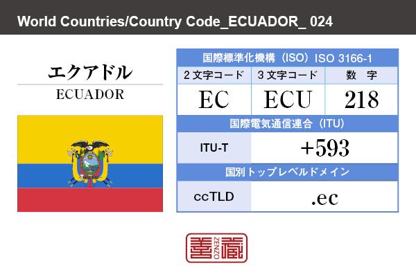 国名:エクアドル/ECUADOR 国際標準化機構 ISO 3166-1 [ 2文字コード:EC , 3文字コード:ECU , 数字:218 ] 国際電気通信連合 ITU-T:+593 国別トップレベルドメイン ccTLD:.ec