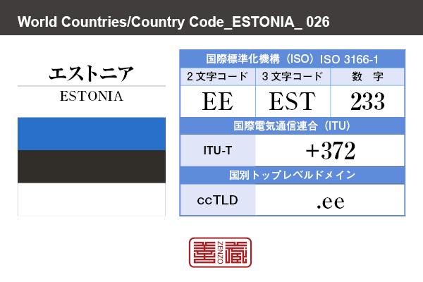 国名:エストニア/ESTONIA 国際標準化機構 ISO 3166-1 [ 2文字コード:EE , 3文字コード:EST , 数字:233 ] 国際電気通信連合 ITU-T:+372 国別トップレベルドメイン ccTLD:.ee