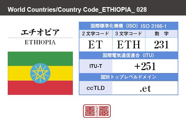 国名:エチオピア/ETHIOPIA 国際標準化機構 ISO 3166-1 [ 2文字コード:ET , 3文字コード:ETH , 数字:231 ] 国際電気通信連合 ITU-T:+251 国別トップレベルドメイン ccTLD:.et