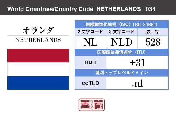 国名:オランダ/NETHERLANDS 国際標準化機構 ISO 3166-1 [ 2文字コード:NL , 3文字コード:NLD , 数字:528 ] 国際電気通信連合 ITU-T:+31 国別トップレベルドメイン ccTLD:.nl