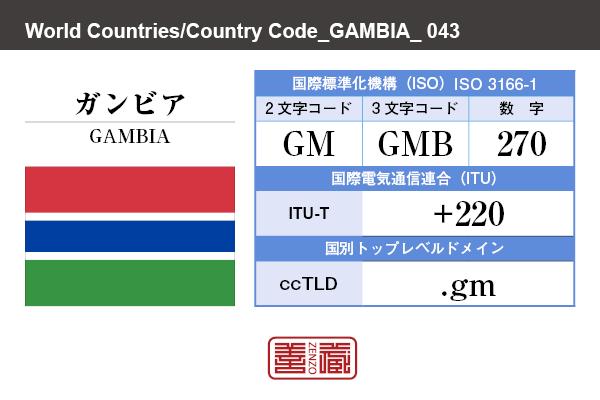 国名:ガンビア/GAMBIA 国際標準化機構 ISO 3166-1 [ 2文字コード:GM , 3文字コード:GMB , 数字:270 ] 国際電気通信連合 ITU-T:+220 国別トップレベルドメイン ccTLD:.gm