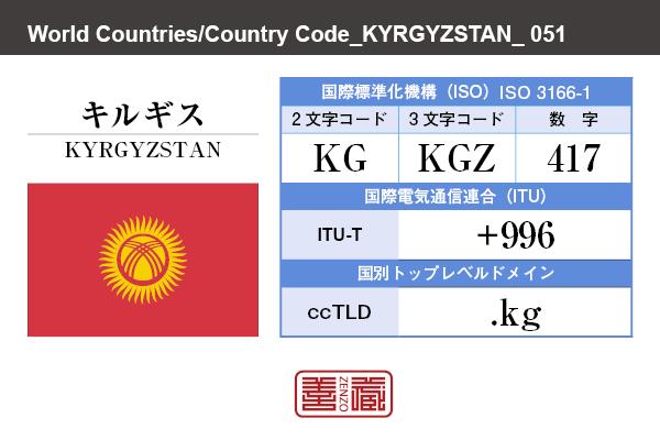 国名:キルギス/KYRGYZSTAN 国際標準化機構 ISO 3166-1 [ 2文字コード:KG , 3文字コード:KGZ , 数字:417 ] 国際電気通信連合 ITU-T:+996 国別トップレベルドメイン ccTLD:.kg