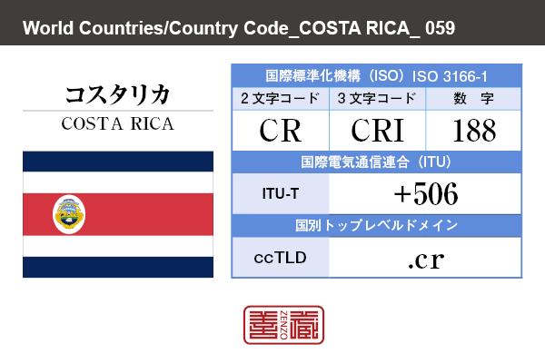 国名:コスタリカ/COSTA RICA 国際標準化機構 ISO 3166-1 [ 2文字コード:CR , 3文字コード:CRI , 数字:188 ] 国際電気通信連合 ITU-T:+506 国別トップレベルドメイン ccTLD:.cr