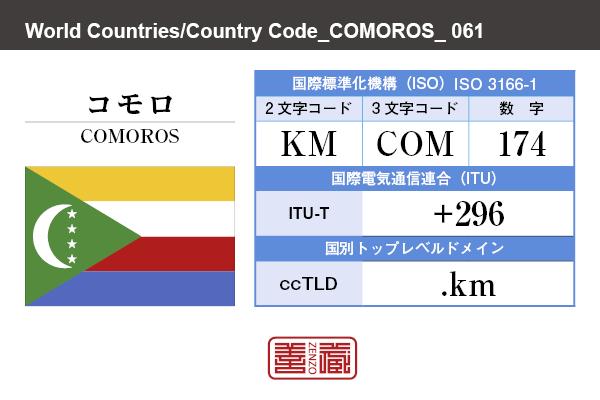 国名:コモロ/COMOROS 国際標準化機構 ISO 3166-1 [ 2文字コード:KM , 3文字コード:COM , 数字:174 ] 国際電気通信連合 ITU-T:+296 国別トップレベルドメイン ccTLD:.km