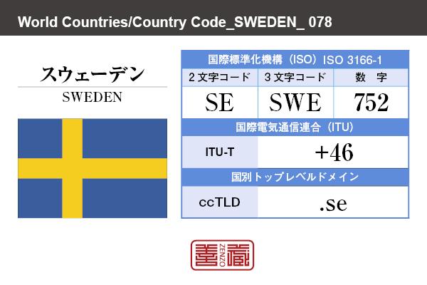 国名:スウェーデン/SWEDEN 国際標準化機構 ISO 3166-1 [ 2文字コード:SE , 3文字コード:SWE , 数字:752 ] 国際電気通信連合 ITU-T:+46 国別トップレベルドメイン ccTLD:.se