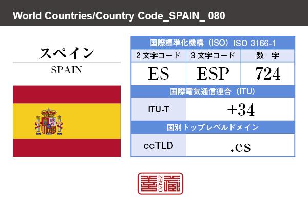 国名:スペイン/SPAIN 国際標準化機構 ISO 3166-1 [ 2文字コード:ES , 3文字コード:ESP , 数字:724 ] 国際電気通信連合 ITU-T:+34 国別トップレベルドメイン ccTLD:.es