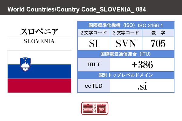 国名:スロベニア/SLOVENIA 国際標準化機構 ISO 3166-1 [ 2文字コード:SI , 3文字コード:SVN , 数字:705 ] 国際電気通信連合 ITU-T:+386 国別トップレベルドメイン ccTLD:.si