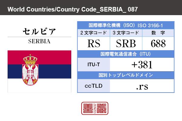 国名:セルビア/SERBIA 国際標準化機構 ISO 3166-1 [ 2文字コード:RS , 3文字コード:SRB , 数字:688 ] 国際電気通信連合 ITU-T:+381 国別トップレベルドメイン ccTLD:.rs