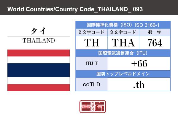 国名:タイ/THAILAND 国際標準化機構 ISO 3166-1 [ 2文字コード:TH , 3文字コード:THA , 数字:764 ] 国際電気通信連合 ITU-T:+66 国別トップレベルドメイン ccTLD:.th