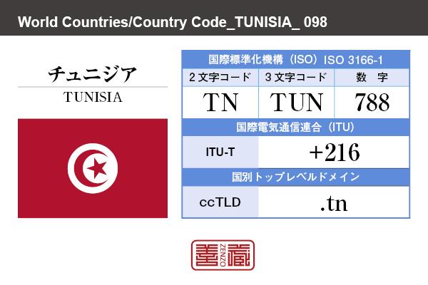 国名:チュニジア/TUNISIA 国際標準化機構 ISO 3166-1 [ 2文字コード:TN , 3文字コード:TUN , 数字:788 ] 国際電気通信連合 ITU-T:+216 国別トップレベルドメイン ccTLD:.tn