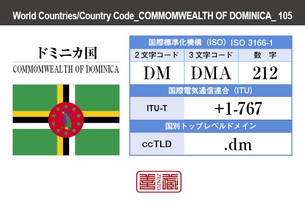 国名:ドミニカ国/COMMOMWEALTH OF DOMINICA 国際標準化機構 ISO 3166-1 [ 2文字コード:DM , 3文字コード:DMA , 数字:212 ] 国際電気通信連合 ITU-T:+1-767 国別トップレベルドメイン ccTLD:.dm
