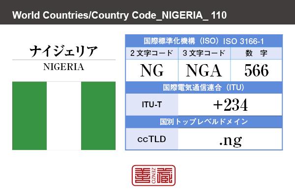 国名:ナイジェリア/NIGERIA 国際標準化機構 ISO 3166-1 [ 2文字コード:NG , 3文字コード:NGA , 数字:566 ] 国際電気通信連合 ITU-T:+234 国別トップレベルドメイン ccTLD:.ng