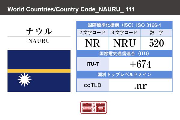 国名:ナウル/NAURU 国際標準化機構 ISO 3166-1 [ 2文字コード:NR , 3文字コード:NRU , 数字:520 ] 国際電気通信連合 ITU-T:+674 国別トップレベルドメイン ccTLD:.nr