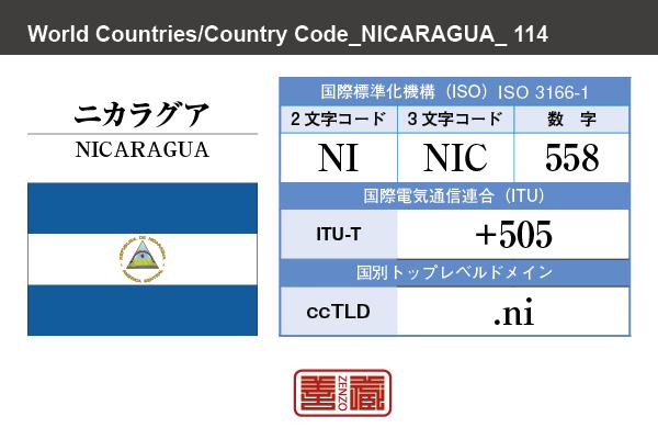 国名:ニカラグア/NICARAGUA 国際標準化機構 ISO 3166-1 [ 2文字コード:NI , 3文字コード:NIC , 数字:558 ] 国際電気通信連合 ITU-T:+505 国別トップレベルドメイン ccTLD:.ni