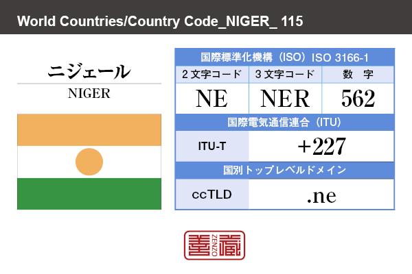 国名:ニジェール/NIGER 国際標準化機構 ISO 3166-1 [ 2文字コード:NE , 3文字コード:NER , 数字:562 ] 国際電気通信連合 ITU-T:+227 国別トップレベルドメイン ccTLD:.ne