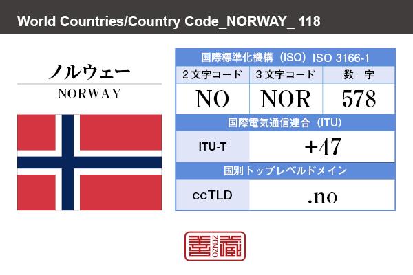 国名:ノルウェー/NORWAY 国際標準化機構 ISO 3166-1 [ 2文字コード:NO , 3文字コード:NOR , 数字:578 ] 国際電気通信連合 ITU-T:+47 国別トップレベルドメイン ccTLD:.no