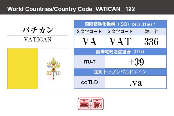 国名:バチカン/VATICAN 国際標準化機構 ISO 3166-1 [ 2文字コード:VA , 3文字コード:VAT , 数字:336 ] 国際電気通信連合 ITU-T:+39 国別トップレベルドメイン ccTLD:.va
