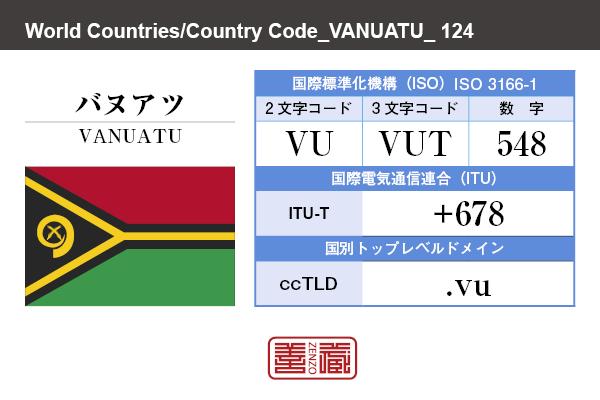 国名:バヌアツ/VANUATU 国際標準化機構 ISO 3166-1 [ 2文字コード:VU , 3文字コード:VUT , 数字:548 ] 国際電気通信連合 ITU-T:+678 国別トップレベルドメイン ccTLD:.vu