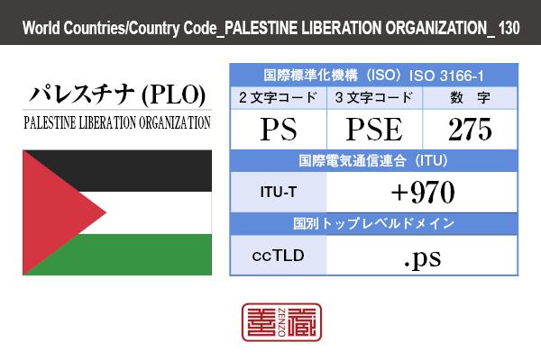 国名:パレスチナ(PLO)/PALESTINE LIBERATION ORGANIZATION 国際標準化機構 ISO 3166-1 [ 2文字コード:PS , 3文字コード:PSE , 数字:275 ] 国際電気通信連合 ITU-T:+970 国別トップレベルドメイン ccTLD:.ps