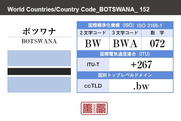 国名:ボツワナ/BOTSWANA 国際標準化機構 ISO 3166-1 [ 2文字コード:BW , 3文字コード:BWA , 数字:072 ] 国際電気通信連合 ITU-T:+267 国別トップレベルドメイン ccTLD:.bw
