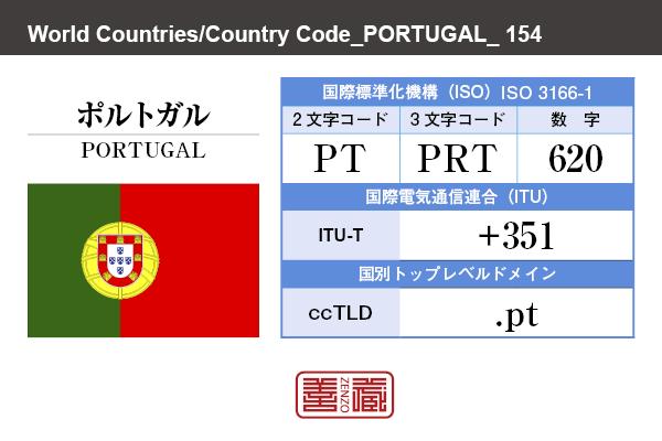 国名:ポルトガル/PORTUGAL 国際標準化機構 ISO 3166-1 [ 2文字コード:PT , 3文字コード:PRT , 数字:620 ] 国際電気通信連合 ITU-T:+351 国別トップレベルドメイン ccTLD:.pt