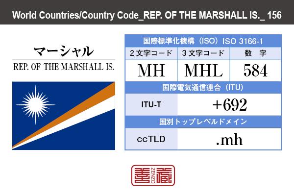 国名:マーシャル/REP. OF THE MARSHALL IS. 国際標準化機構 ISO 3166-1 [ 2文字コード:MH , 3文字コード:MHL , 数字:584 ] 国際電気通信連合 ITU-T:+692 国別トップレベルドメイン ccTLD:.mh