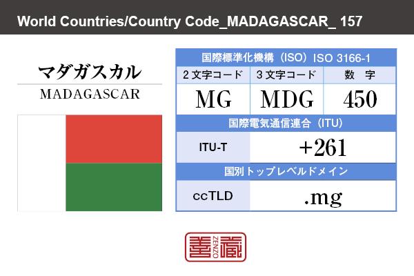 国名:マダガスカル/MADAGASCAR 国際標準化機構 ISO 3166-1 [ 2文字コード:MG , 3文字コード:MDG , 数字:450 ] 国際電気通信連合 ITU-T:+261 国別トップレベルドメイン ccTLD:.mg