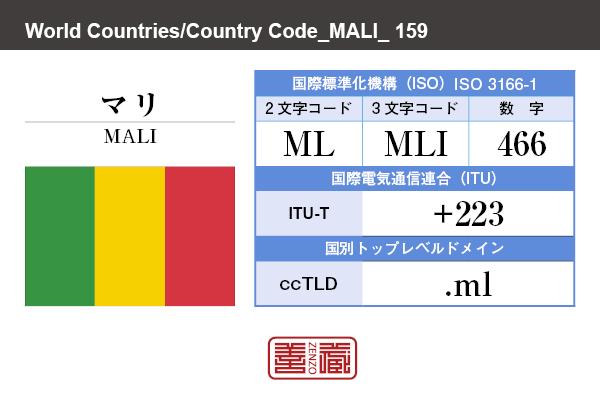 国名:マリ/MALI 国際標準化機構 ISO 3166-1 [ 2文字コード:ML , 3文字コード:MLI , 数字:466 ] 国際電気通信連合 ITU-T:+223 国別トップレベルドメイン ccTLD:.ml
