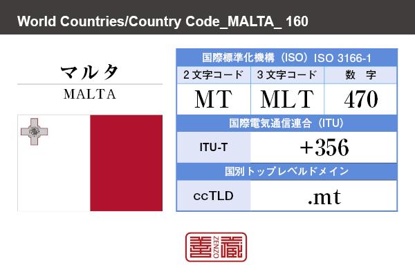 国名:マルタ/MALTA 国際標準化機構 ISO 3166-1 [ 2文字コード:MT , 3文字コード:MLT , 数字:470 ] 国際電気通信連合 ITU-T:+356 国別トップレベルドメイン ccTLD:.mt