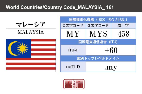国名:マレーシア/MALAYSIA 国際標準化機構 ISO 3166-1 [ 2文字コード:MY , 3文字コード:MYS , 数字:458 ] 国際電気通信連合 ITU-T:+60 国別トップレベルドメイン ccTLD:.my