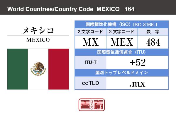 国名:メキシコ/MEXICO 国際標準化機構 ISO 3166-1 [ 2文字コード:MX , 3文字コード:MEX , 数字:484 ] 国際電気通信連合 ITU-T:+52 国別トップレベルドメイン ccTLD:.mx