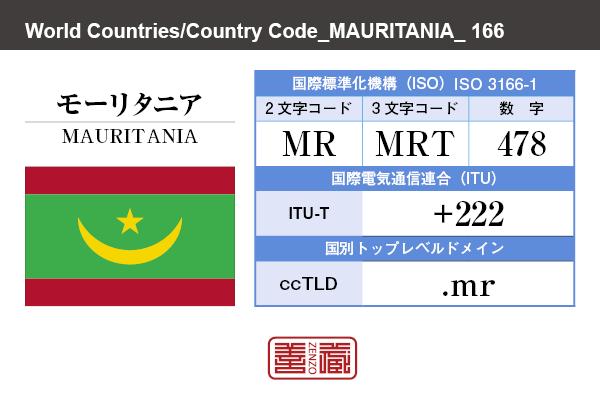 国名:モーリタニア/MAURITANIA 国際標準化機構 ISO 3166-1 [ 2文字コード:MR , 3文字コード:MRT , 数字:478 ] 国際電気通信連合 ITU-T:+222 国別トップレベルドメイン ccTLD:.mr