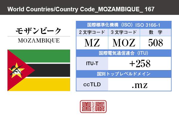 国名:モザンビーク/MOZAMBIQUE 国際標準化機構 ISO 3166-1 [ 2文字コード:MZ , 3文字コード:MOZ , 数字:508 ] 国際電気通信連合 ITU-T:+258 国別トップレベルドメイン ccTLD:.mz