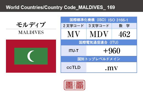 国名:モルディブ/MALDIVES 国際標準化機構 ISO 3166-1 [ 2文字コード:MV , 3文字コード:MDV , 数字:462 ] 国際電気通信連合 ITU-T:+960 国別トップレベルドメイン ccTLD:.mv