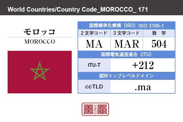 国名:モロッコ/MOROCCO 国際標準化機構 ISO 3166-1 [ 2文字コード:MA , 3文字コード:MAR , 数字:504 ] 国際電気通信連合 ITU-T:+212 国別トップレベルドメイン ccTLD:.ma