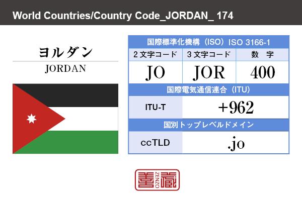 国名:ヨルダン/JORDAN 国際標準化機構 ISO 3166-1 [ 2文字コード:JO , 3文字コード:JOR , 数字:400 ] 国際電気通信連合 ITU-T:+962 国別トップレベルドメイン ccTLD:.jo