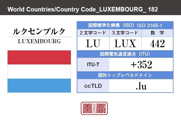 国名:ルクセンブルク/LUXEMBOURG 国際標準化機構 ISO 3166-1 [ 2文字コード:LU , 3文字コード:LUX , 数字:442 ] 国際電気通信連合 ITU-T:+352 国別トップレベルドメイン ccTLD:.lu