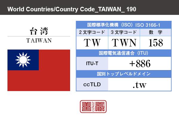 国名:台湾/TAIWAN 国際標準化機構 ISO 3166-1 [ 2文字コード:TW , 3文字コード:TWN , 数字:158 ] 国際電気通信連合 ITU-T:+886 国別トップレベルドメイン ccTLD:.tw