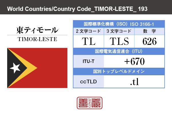 国名:東ティモール/TIMOR-LESTE 国際標準化機構 ISO 3166-1 [ 2文字コード:TL , 3文字コード:TLS , 数字:626 ] 国際電気通信連合 ITU-T:+670 国別トップレベルドメイン ccTLD:.tl