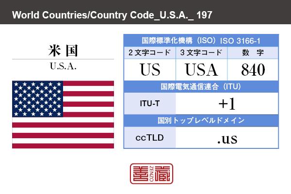 国名:米国 アメリカ合衆国/U.S.A. United States of America 国際標準化機構 ISO 3166-1 [ 2文字コード:US , 3文字コード:USA , 数字:840 ] 国際電気通信連合 ITU-T:+1 国別トップレベルドメイン ccTLD:.us