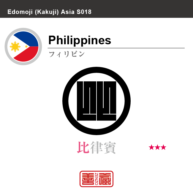 フィリピン Philippines 比律賓 角字で世界の国名、漢字表記 一文字表記