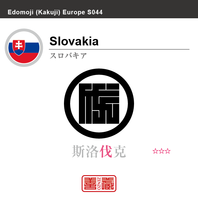 スロバキア Slovakia 斯洛伐克 角字で世界の国名、漢字表記 一文字表記